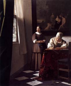 Vermeer, Lady Writing a Letter with Her Maid, c. 1670, National Gallery of Ireland, Dublin